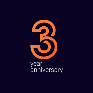 3 Year Anniversary Celebration Vector Template Design Illustration