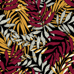 Foto op Canvas Paradijsvogel Trending abstract seamless pattern with colorful tropical leaves and plants on black background. Vector design. Jungle print. Flowers background. Printing and textiles. Exotic tropics. Fresh design.
