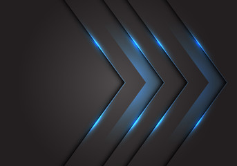 Abstract blue light 3D arrow direction on dark grey blank space design modern futuristic technology background vector illustration.