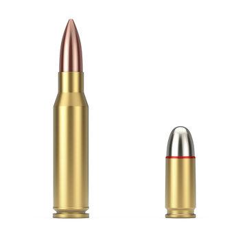 Automatic Rifles 7.62 mm Caliber and 9 mm Metal Gun Bullet. 3d Rendering