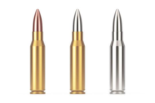 Automatic Rifles 7.62 mm Caliber Metal Bullet. 3d Rendering