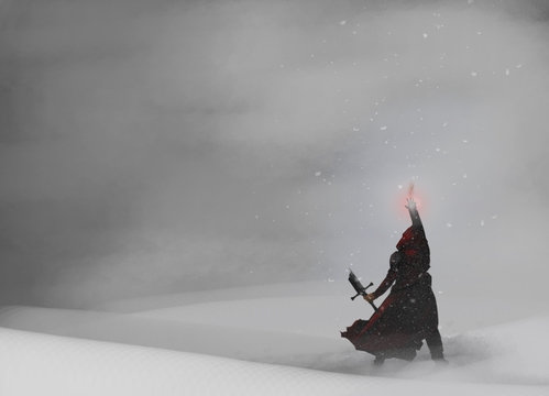 Warrior Mage Back View in snow