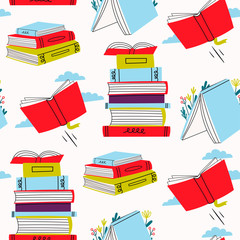 Read more books. Various books and stacks of books. Pile of colorful books. Hand drawn educational vector seamless pattern. Flat design. Cartoon style