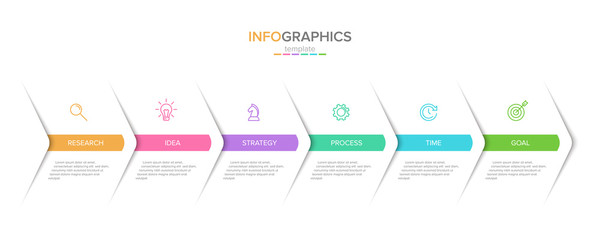 Vector infographic label template with icons. 6 options or steps. Infographics for business concept. Can be used for info graphics, flow charts, presentations, web sites, banners, printed materials. Wall mural