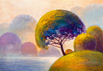 Abstract trees on the river bank. Original painting.