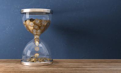 3D Illustration Sanduhr mit Geldmünzen