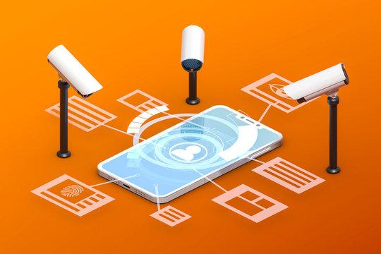 3D Illustration Überwachung mobiler Daten