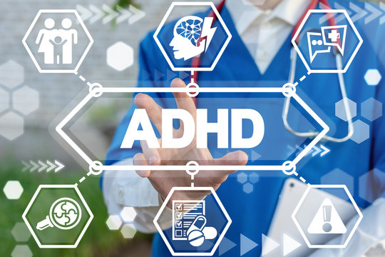 Doctor uses virtual interface sees ADHD acronym. ADHD Attention Deficit Hyperactivity Disorder Medical Illness Cure.