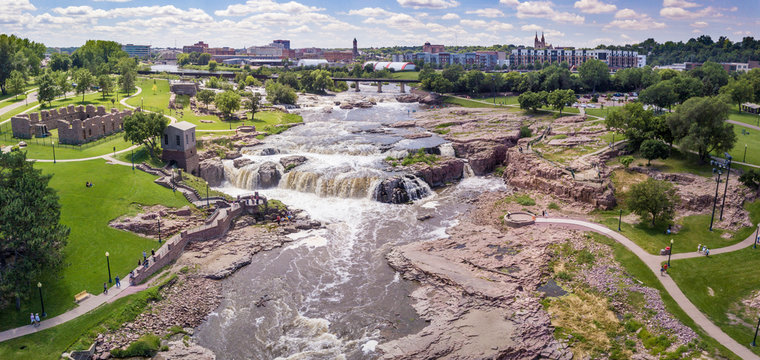 Aerial panorama of the falls in Sioux Falls, South Dakota and Falls Park.