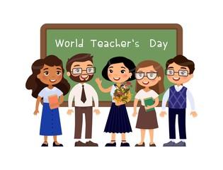 World teachers day greeting flat vector illustration