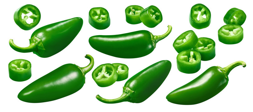 Green hot pepper set isolated on white background