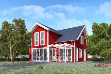 3d Illustration - Ein rotes, skandinavisches Einfamilienhaus in blühender Natur im Sommer am Tag