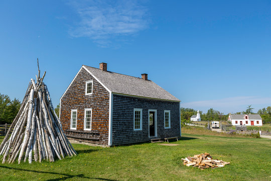 New Brunswick,Canada,13,2017:Village Historique Acadien tourist attraction that recreates the life of the Acadians