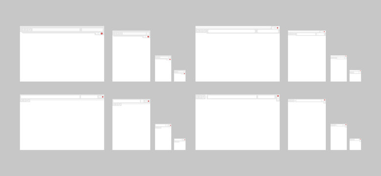 Set of web interface templates for different devices. Screen, digital device, site, window, mockups. Internet technologies concept. Vector illustration can be used for presentation slide, web design