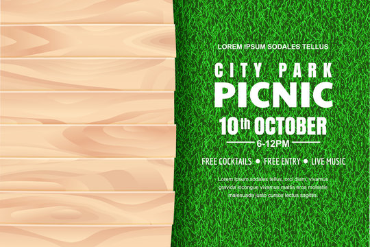Picnic background. Vector poster, banner design template with realistic wooden table on green grass lawn.
