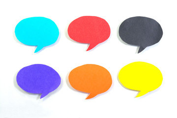 Multicolored speech bubble on white background