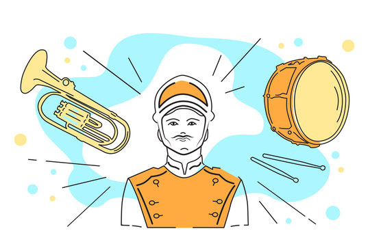 Vector illustration of a military band, musician in uniform, drum and trumpet, percussion and wind instruments. Element for festival, carnival and entertainment icon. Thin line icon for website.