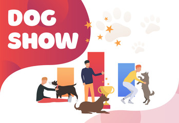 Pet owners petting dogs and celebrating victory. Winner, award, animal concept. Poster or landing template. Vector illustration for topics like entertainment, competition, dog show