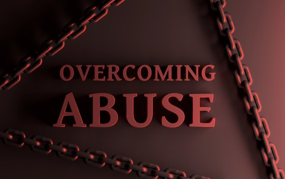 Word overcoming abuEscape concept. Large bold red words Overcoming Abuse over red surface with large chainsse with large chains