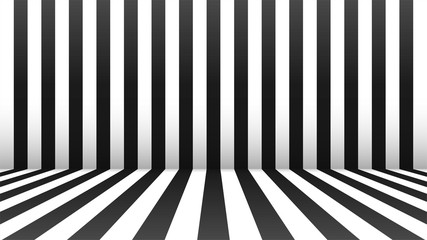 Black and white abstract room. Stripes in perspective with a shadow. Vector illustration.