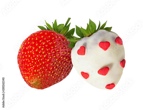 Fototapete strawberry and strawberry in chocolate isolated on the white background