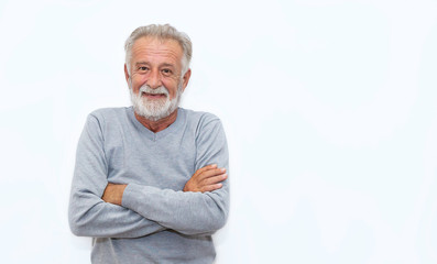 Portrait of healthy happy smile senior elderly caucasian old man face with arm crossed isolated on white. Golden age grand father healthcare cheerful lifestyle, freedom relax retirement concept