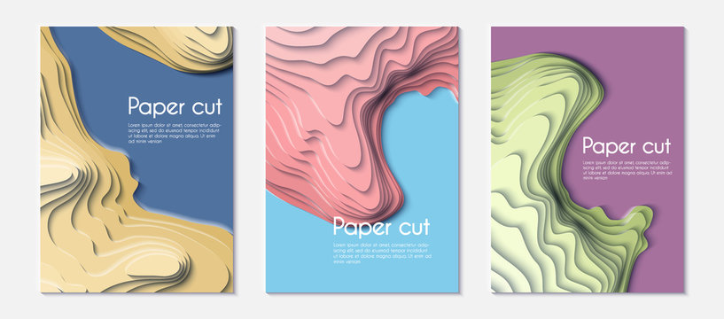 Set of paper cut. Mountain hiking. Map line of topography. Vector abstract topographic map concept with space for your copy. 3D Cartography concep background. Map mockup infographics. Wavy backdrop.