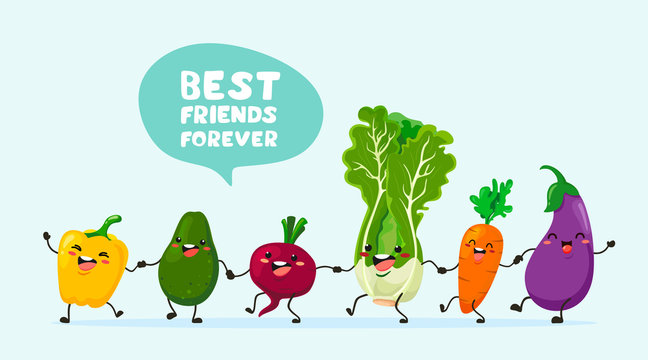 Funny vegetables with text balloons go hand in hand one after another. Vector vegetable isolates in cartoon style. Vitamins. Handwriting