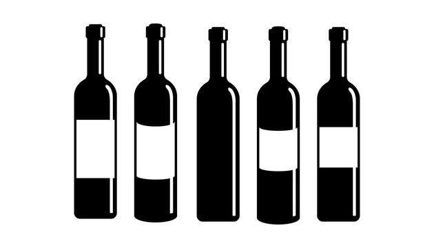 Set wine bottle icon isolated on white background. EPS 10.