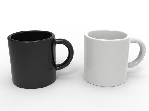 Black and white coffee mugs side by side
