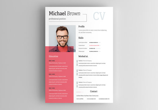 Resume Layout with Red Overlay