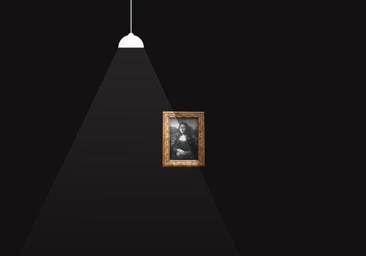 Illuminated picture on a dark wall