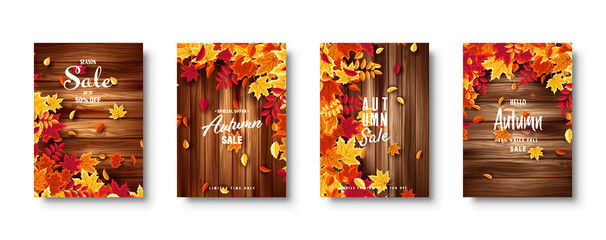 Autumn falling leaves. Banner set. Nature background with red, orange, yellow foliage. Flying leaf. Season sale. Vector illustration. Wall mural