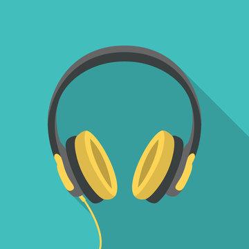Headphones dj computer music beats sign icon symbol flat design vector