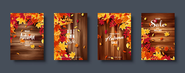Wall Mural - Autumn falling leaves. Banner set. Nature background with red, orange, yellow foliage. Flying leaf. Season sale. Vector illustration.