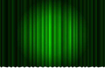 Closed luxury green curtain with many shadow stage background spotlight beam illuminated. Theatrical fabric drapes stage opening ceremony. Vector illustration Wall mural