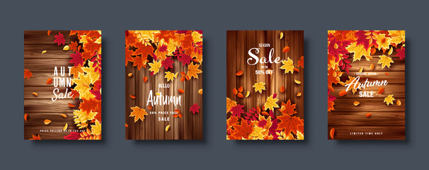 Autumn falling leaves. Banner set. Nature background with red, orange, yellow foliage. Flying leaf. Season sale. Vector illustration. Fotoväggar