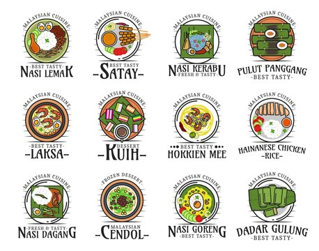Food of Malaysia, malaysian cuisine dishes logos
