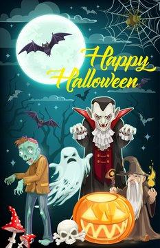 Halloween ghost, dracula vampire, zombie and bats