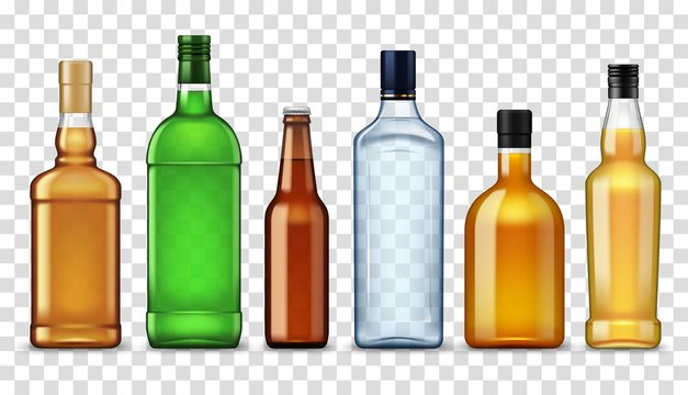 Alcohol drinks in bottles, isolated high spirits