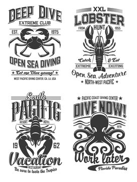 Octopus, crab and lobster logo cafe, diving club