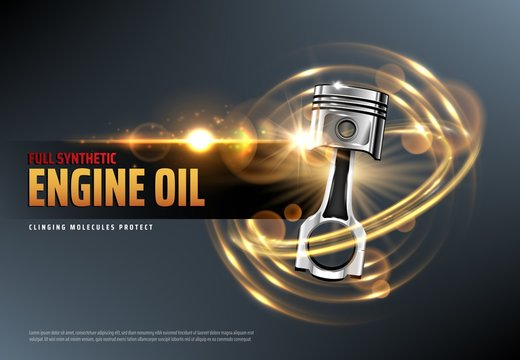 Motor oil or lubricant with car engine piston