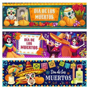 Mexican Day of Dead altar, sugar skulls, skeletons