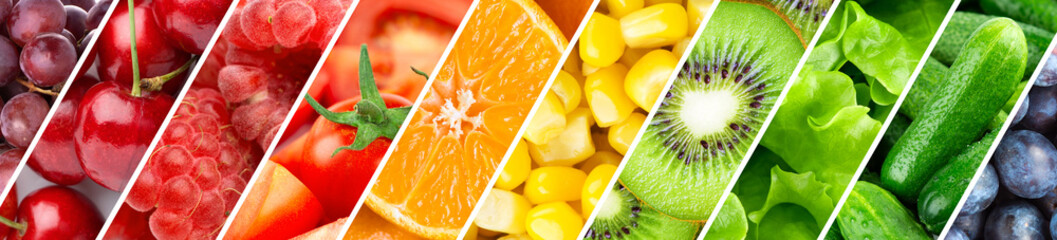 Fototapeta Background of fruits and vegetables