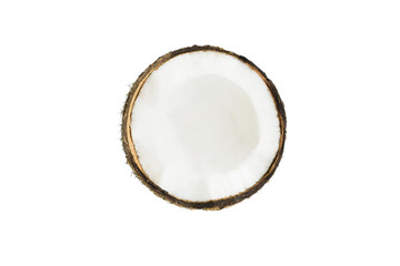 Coconut half top view isolated on white background