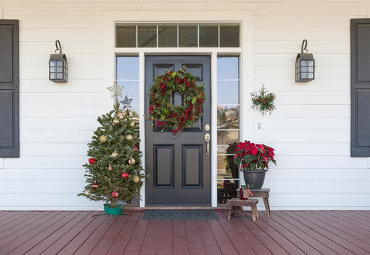 Christmas Decorations At Front Door of House