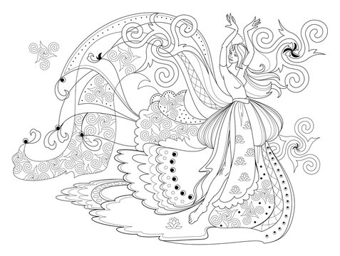 Black and white page for coloring book. Fantasy drawing of dancing Celtic girl in beautiful dress. Pattern for modern print, embroidery, decoration. Hand-drawn vector image.