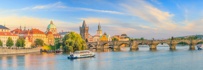 Famous iconic image of Charles bridge and Praguecity skyline