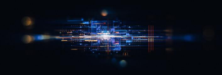 Led Light. Abstract effect. Future tech. Glare cubes. Digital cpu signal. .Shine grid. Modern big data. Neon flare. Quantum computer net system. .Magic code. Grid HUD lines. Web device. Blocks system.