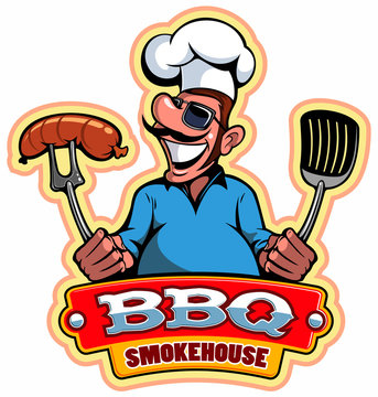 A cartoon smiled mustached cook chef character holding a grilled meat, vector cartoon character.